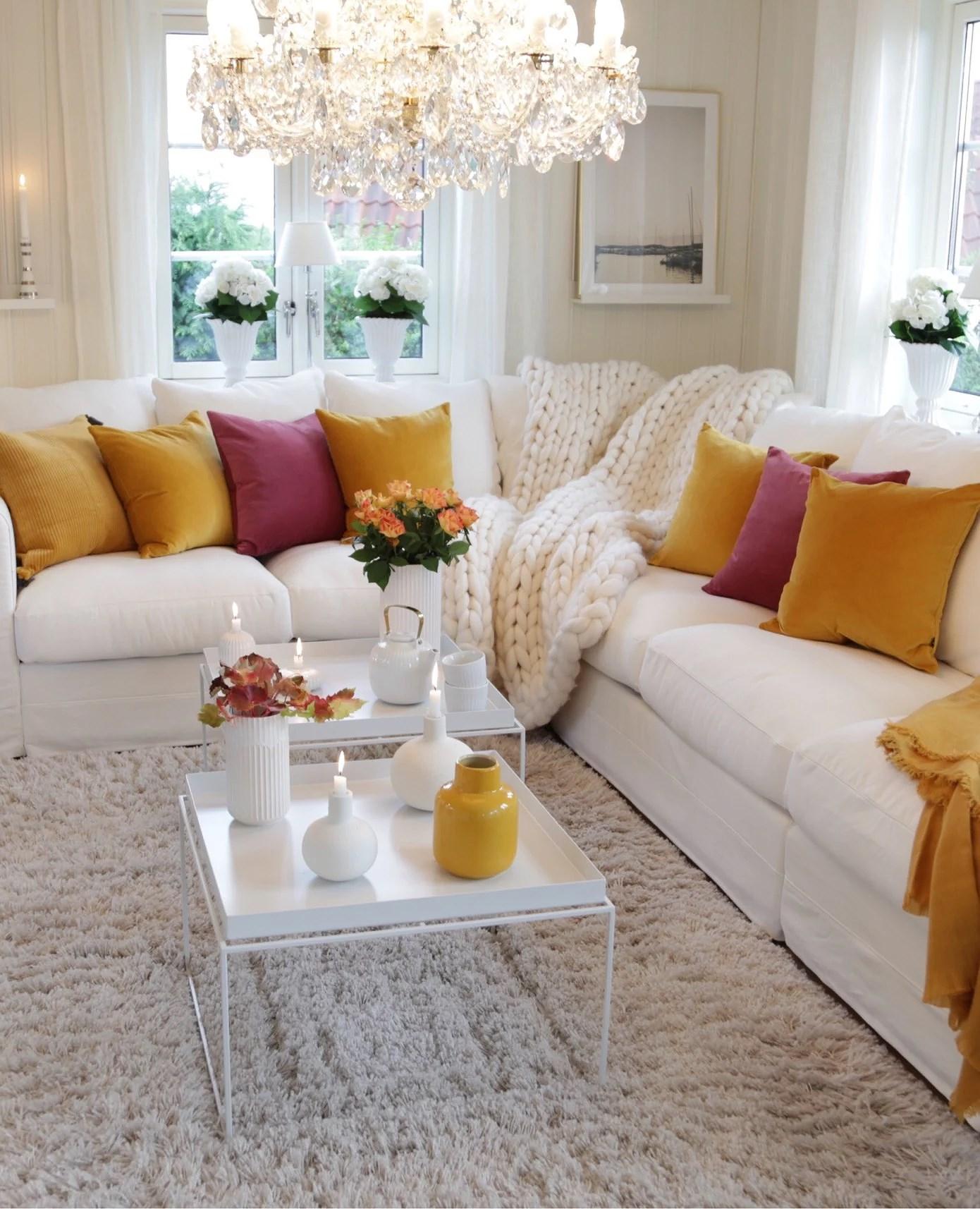 Mustard yellow and burgundy cushions
