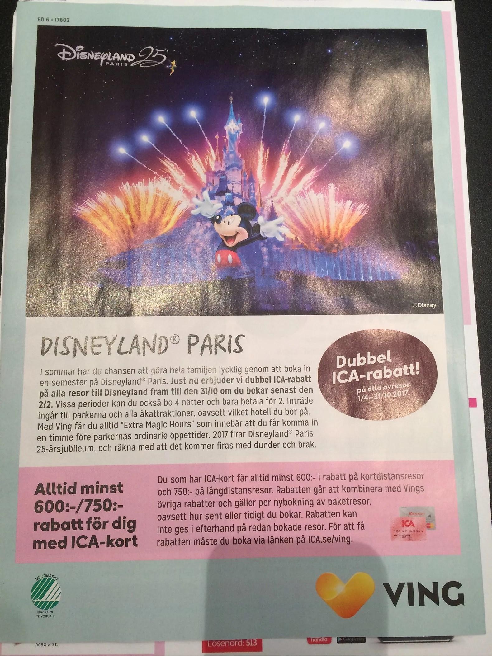 Rabatt på resa till Disneyland Paris med Ving och Ica