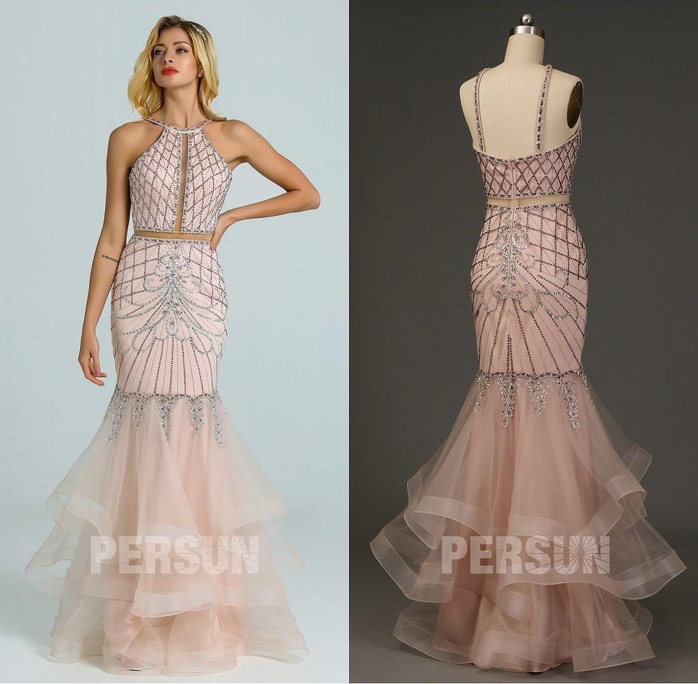 robe de soirée sirène rose pâle 2020 vintage brodée à dos nu