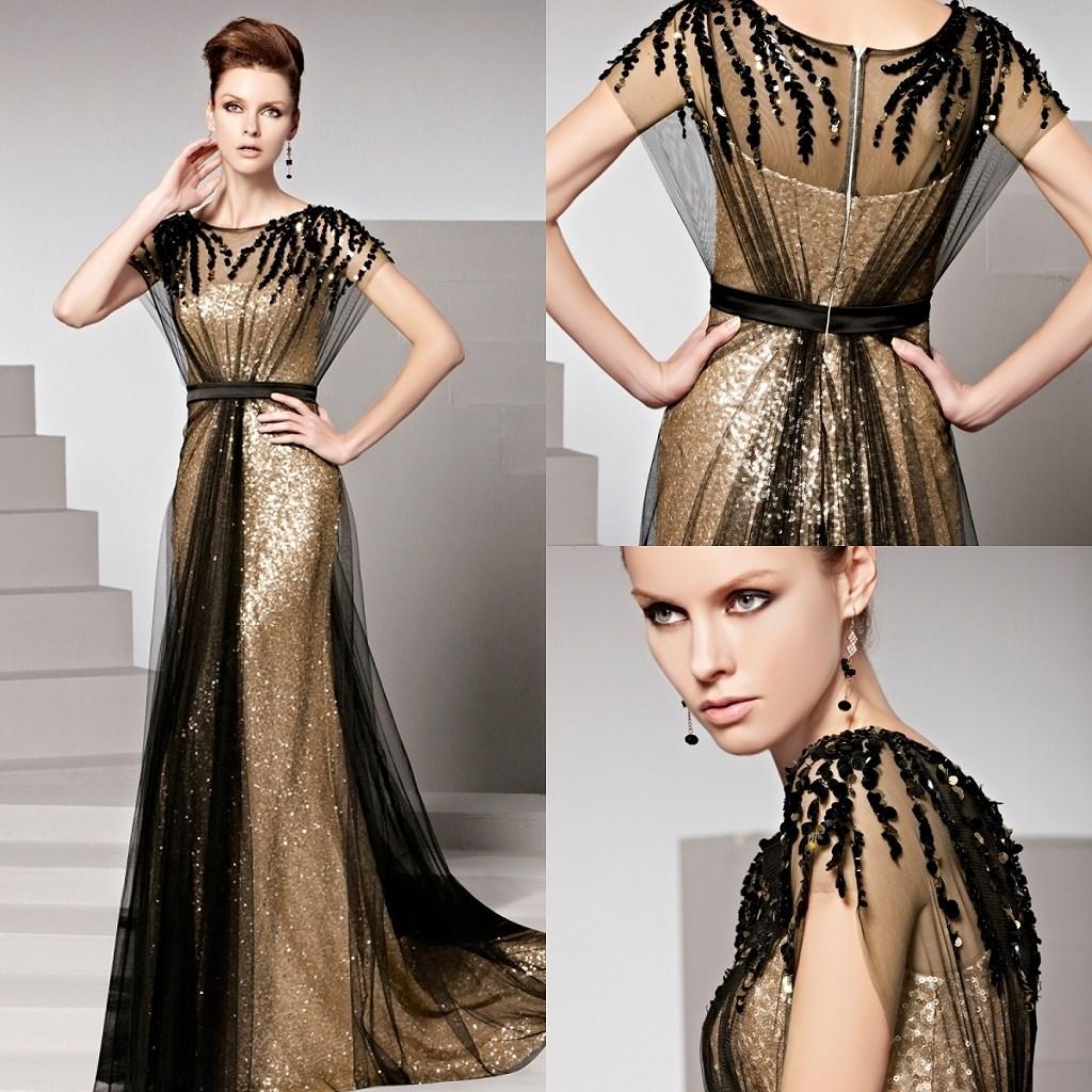 robe de soirée longue bicolore à col ovale ligne A
