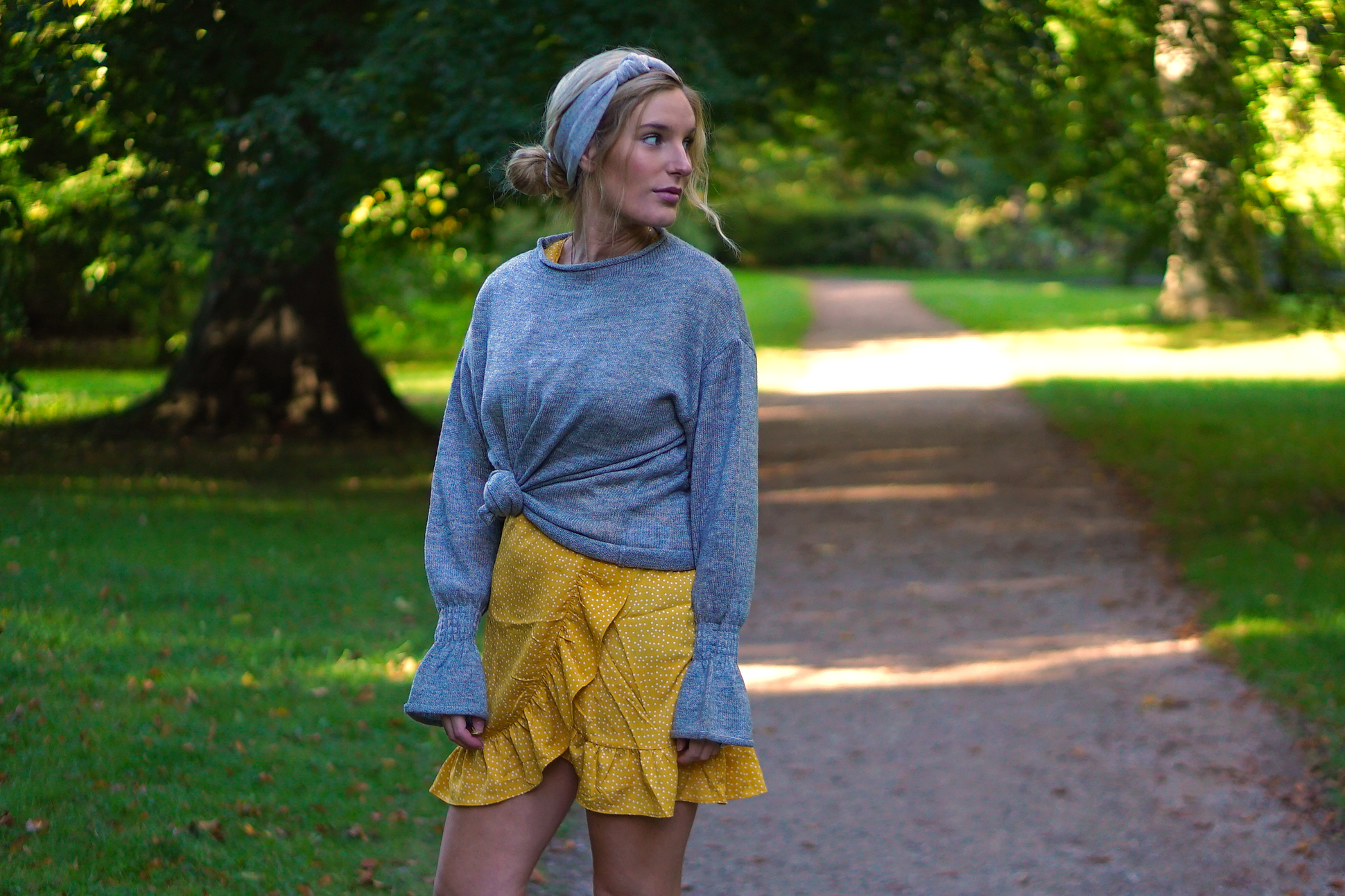 Grey Knit & Yellow Details