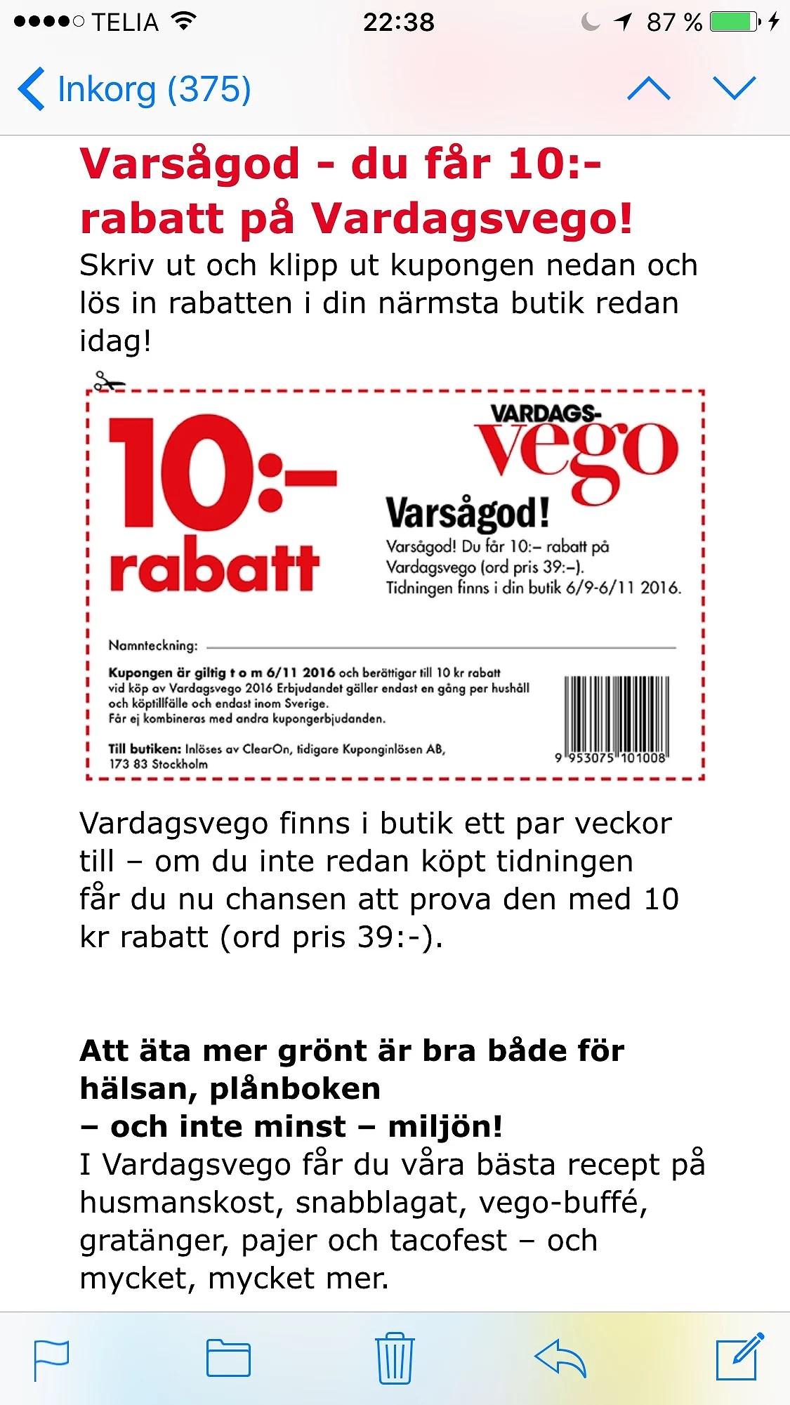 10 kr rabatt på Vego