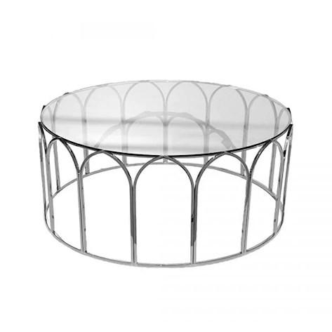 Runt silver/glas bord