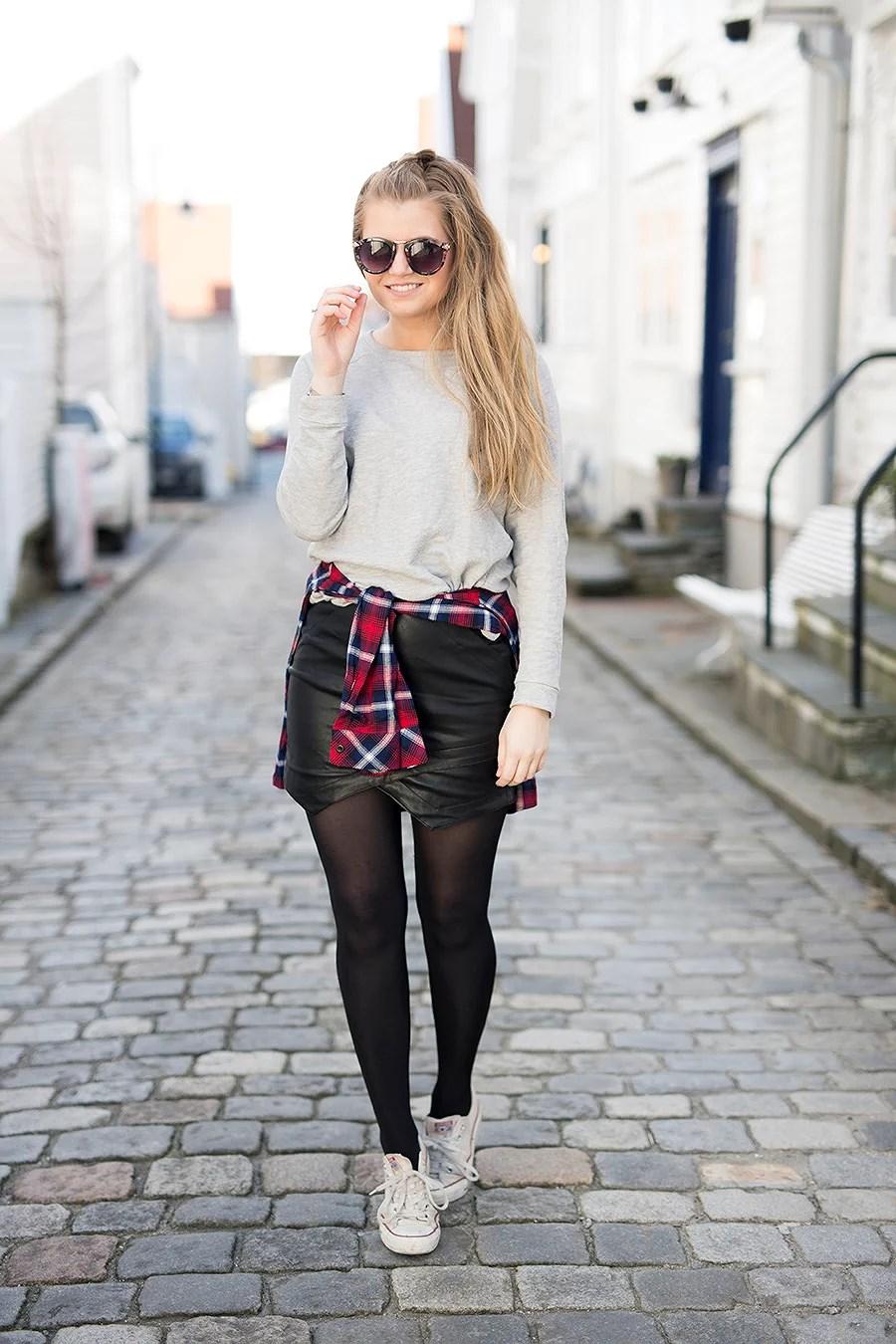 krist.in antrekk leather skirt skjorte stavanger