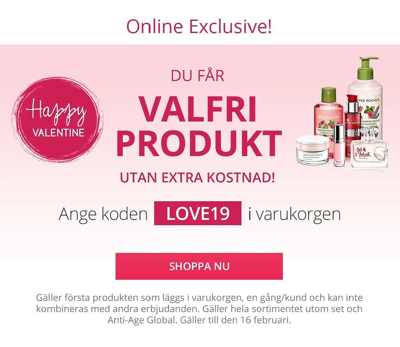 Yves Rocher gratis första produkten som läggs i varukorgen