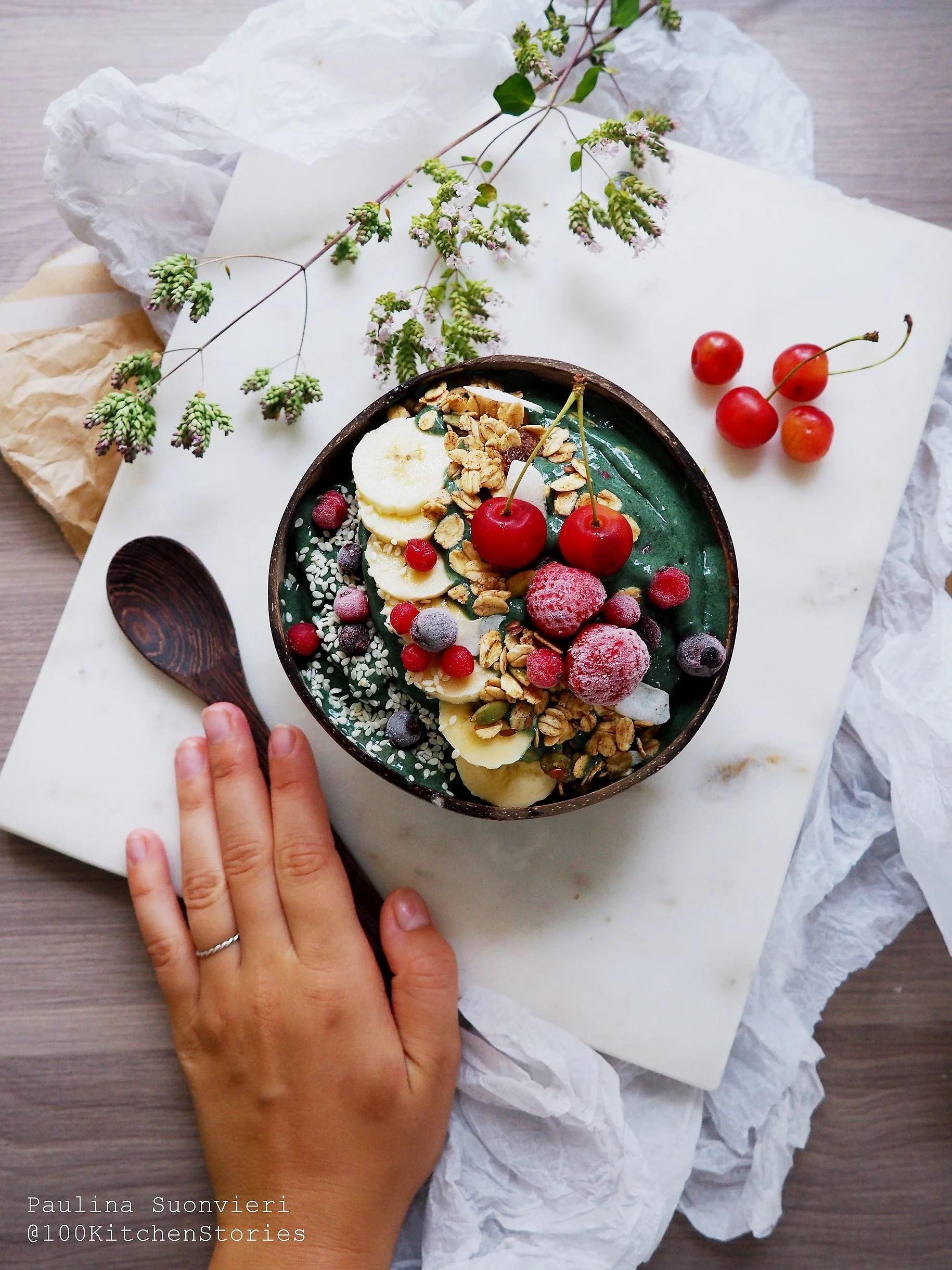 Spirulina Bowl with Raw Nut Granola, Fresh Cherries and Organic Banana
