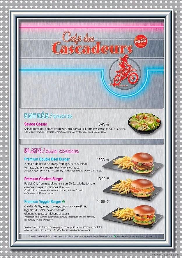 Disneyland Paris Menyer: Café de Cascadeurs