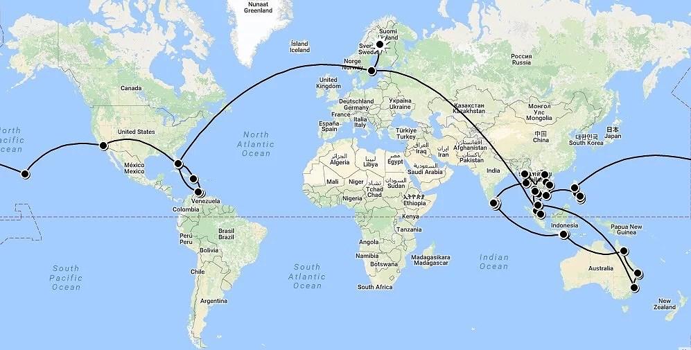 Vår rutt för resan jorden runt
