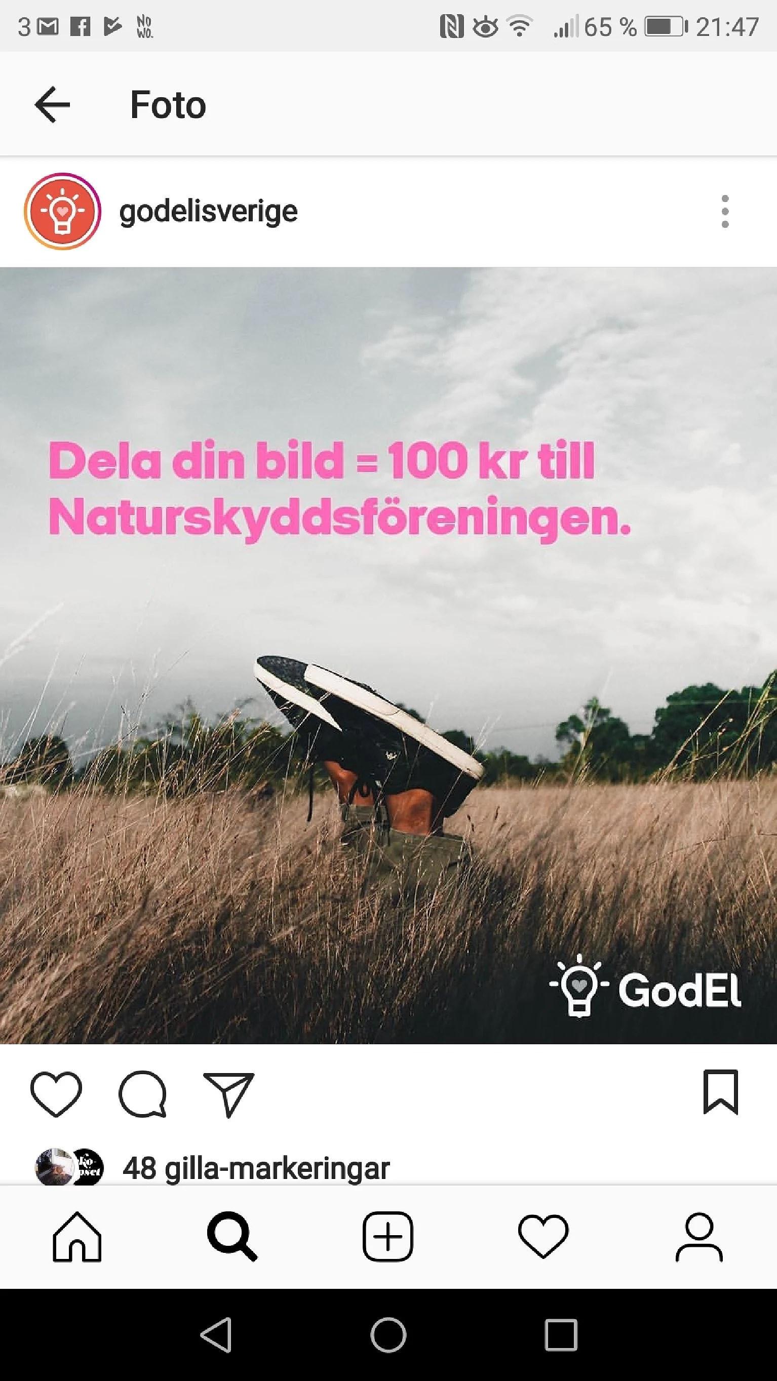 Skänk 100 kr till naturskyddsföreningen genom att posta en naturbild...