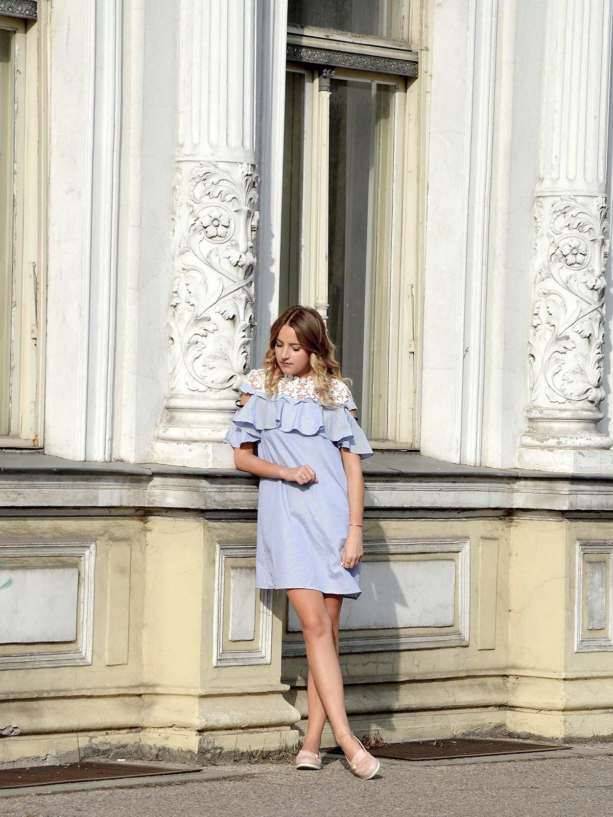 Open Shoulder Flounce Dress