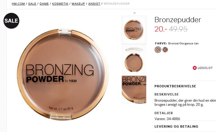 bronze poowder h&m