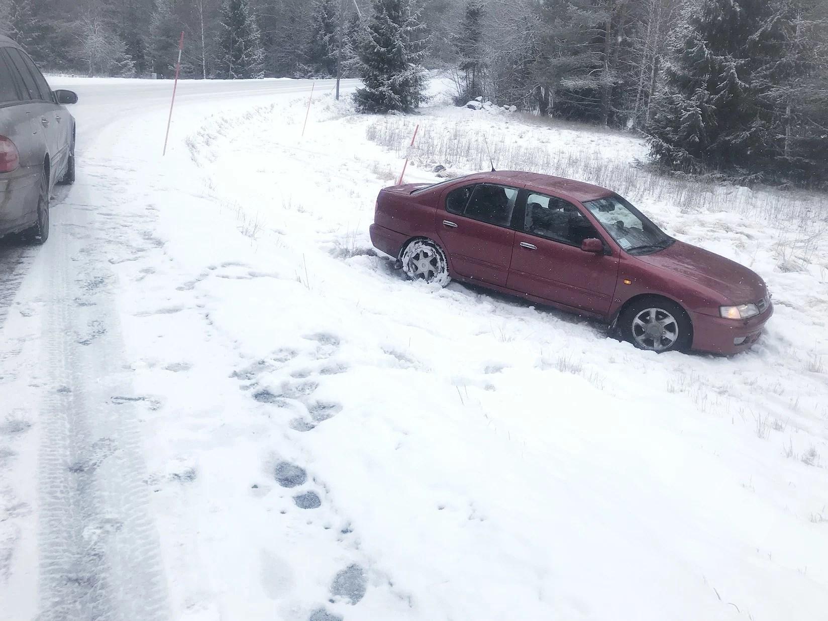 Hon körde av vägen