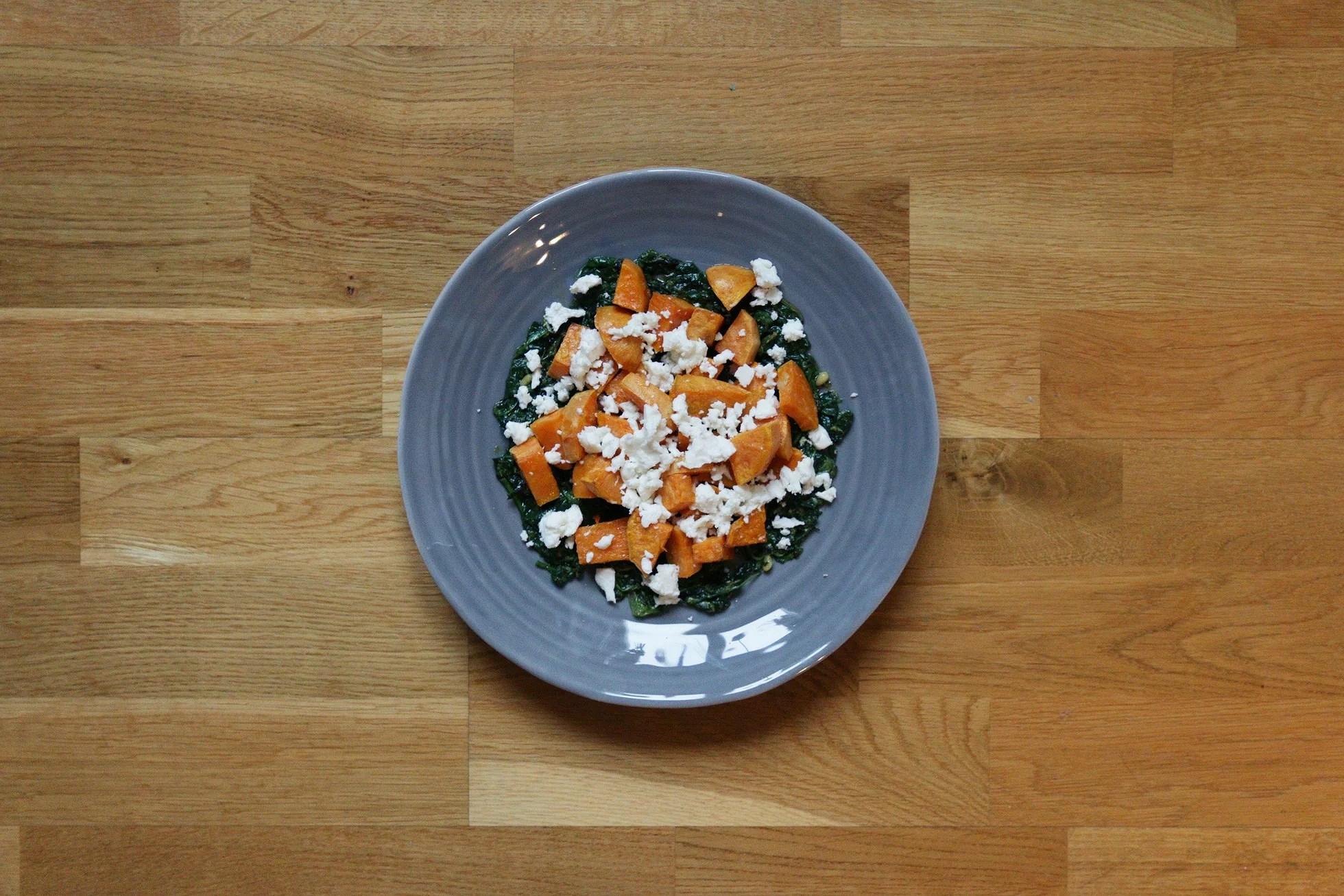 RECIPE/SWEET POTATO SALAD WITH FETA CHEESE AND KALE