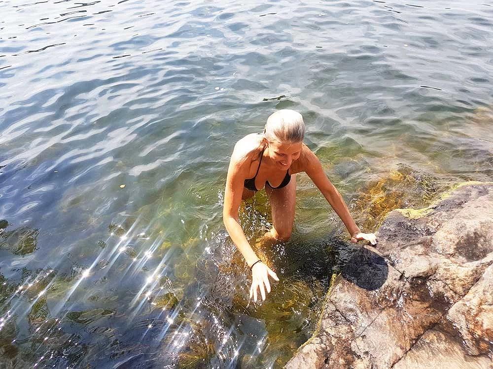 Badar vid Kristinebergsklipporna i Stockholm