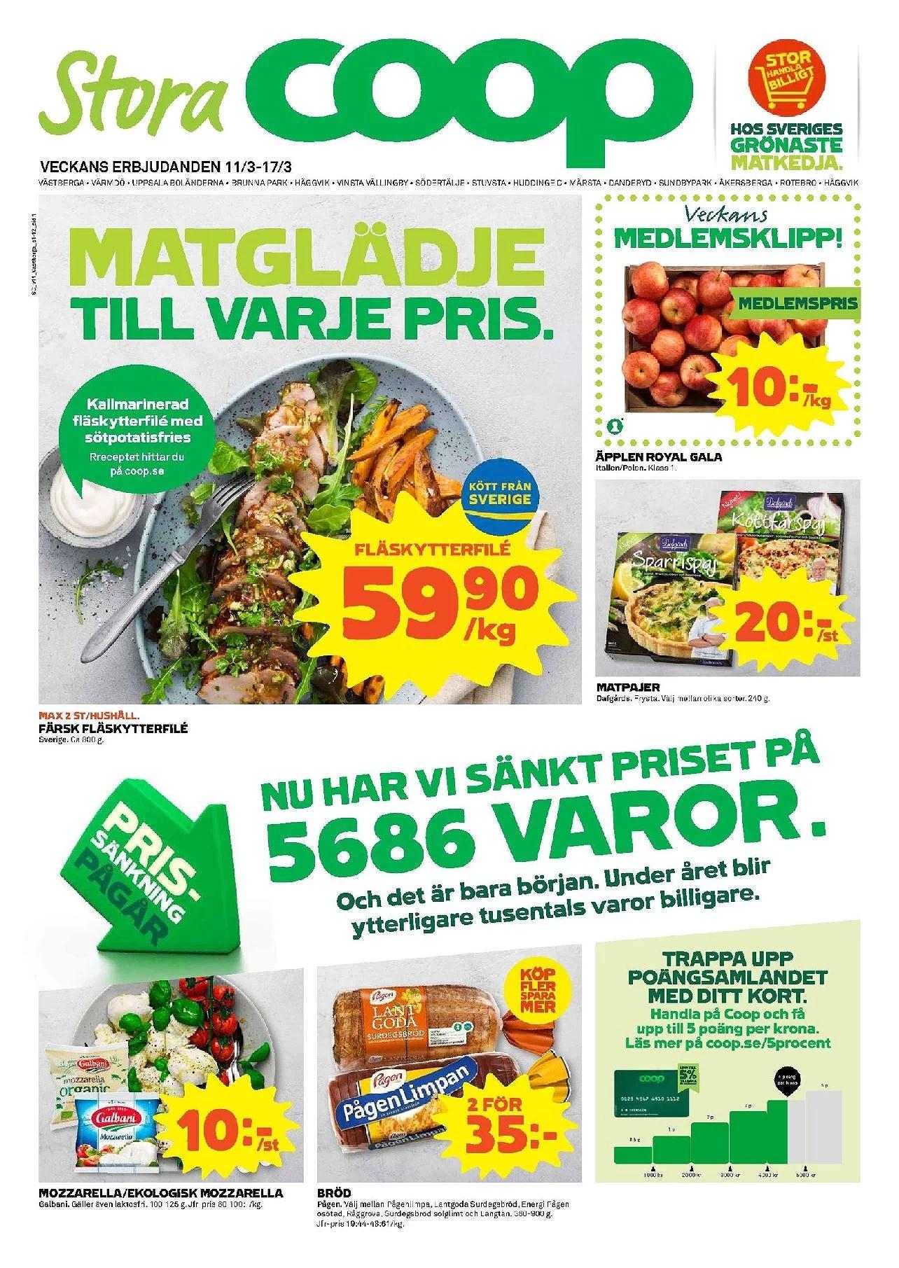 Stora Coop, äpplen 10kr kg, gratis Picadeli sallad och annat