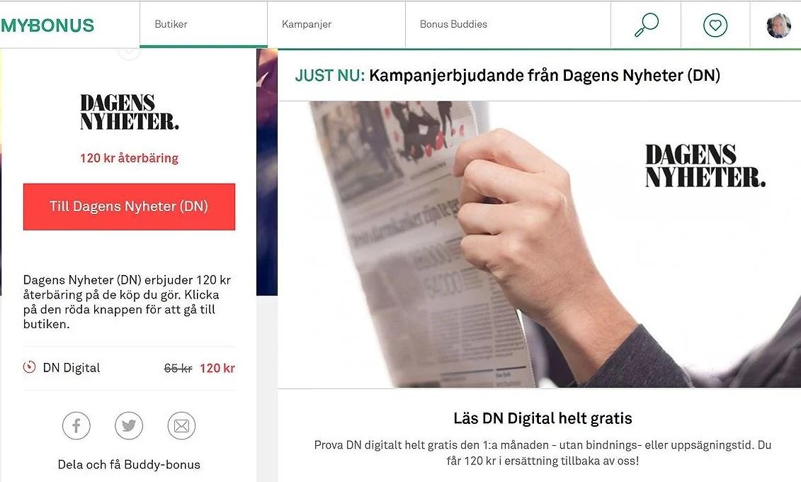 Läs DN digitalt gratis första månaden och få 120 kr cashback