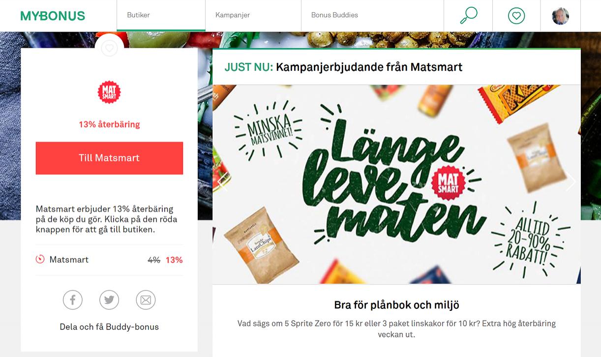 Få 13 procent cashback från  Matsmart