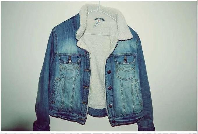 Jeansjacka med lurv.