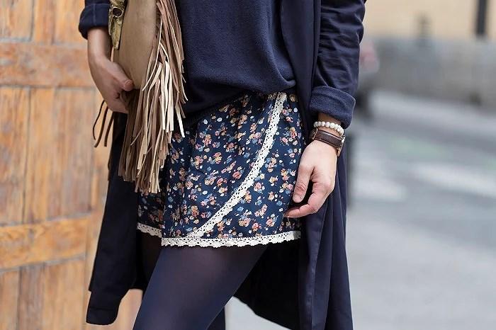 Falda floral Okeysi. Blue look