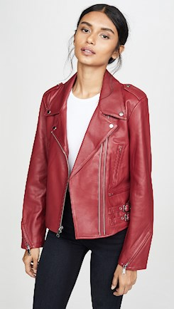 moto leather jacket red