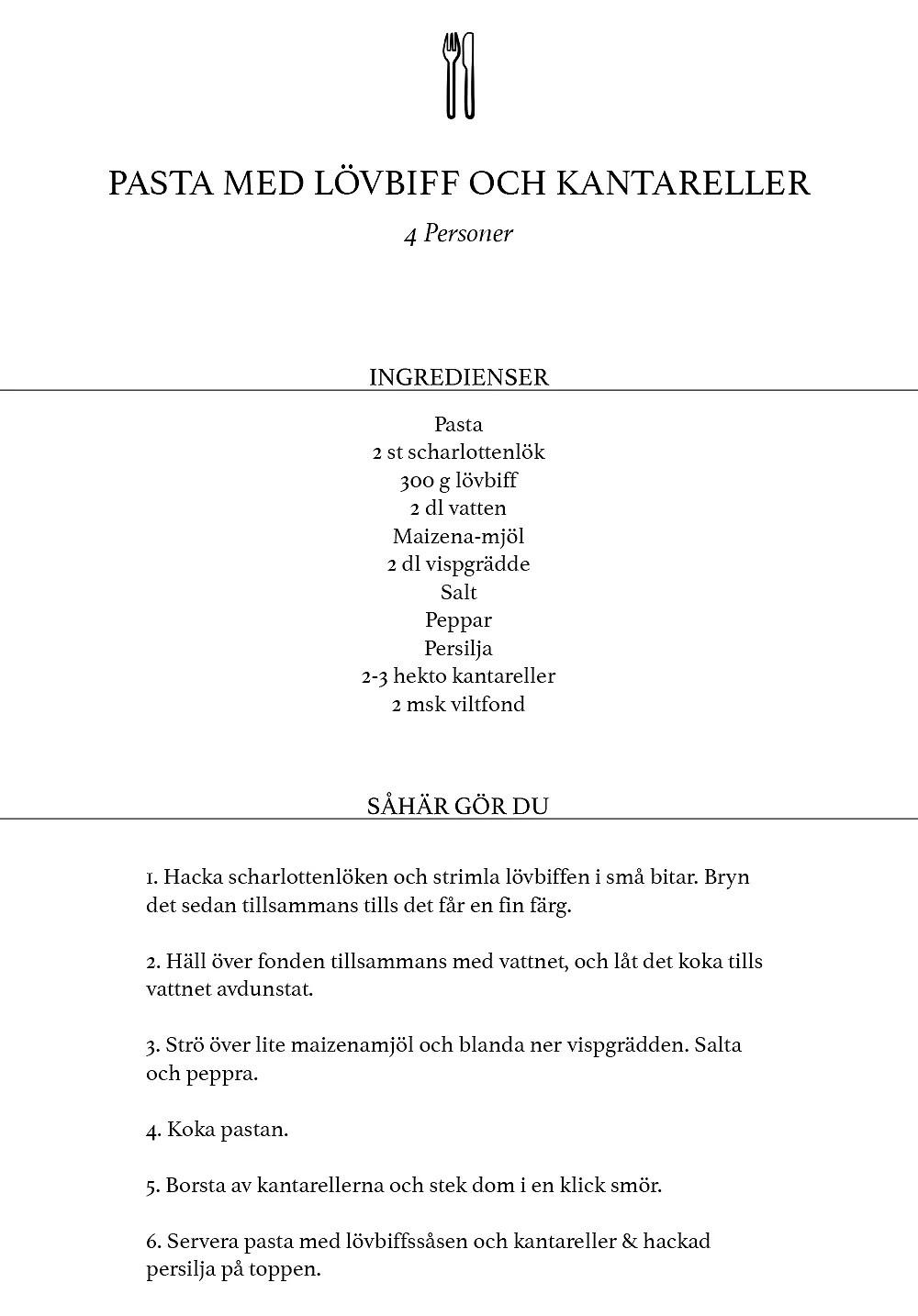 pasta-med-lövbiff-och-kantareller
