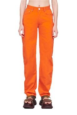 Sunnei orange pants with fringed bands