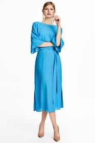 HM kollektion 2018, blå långklänning