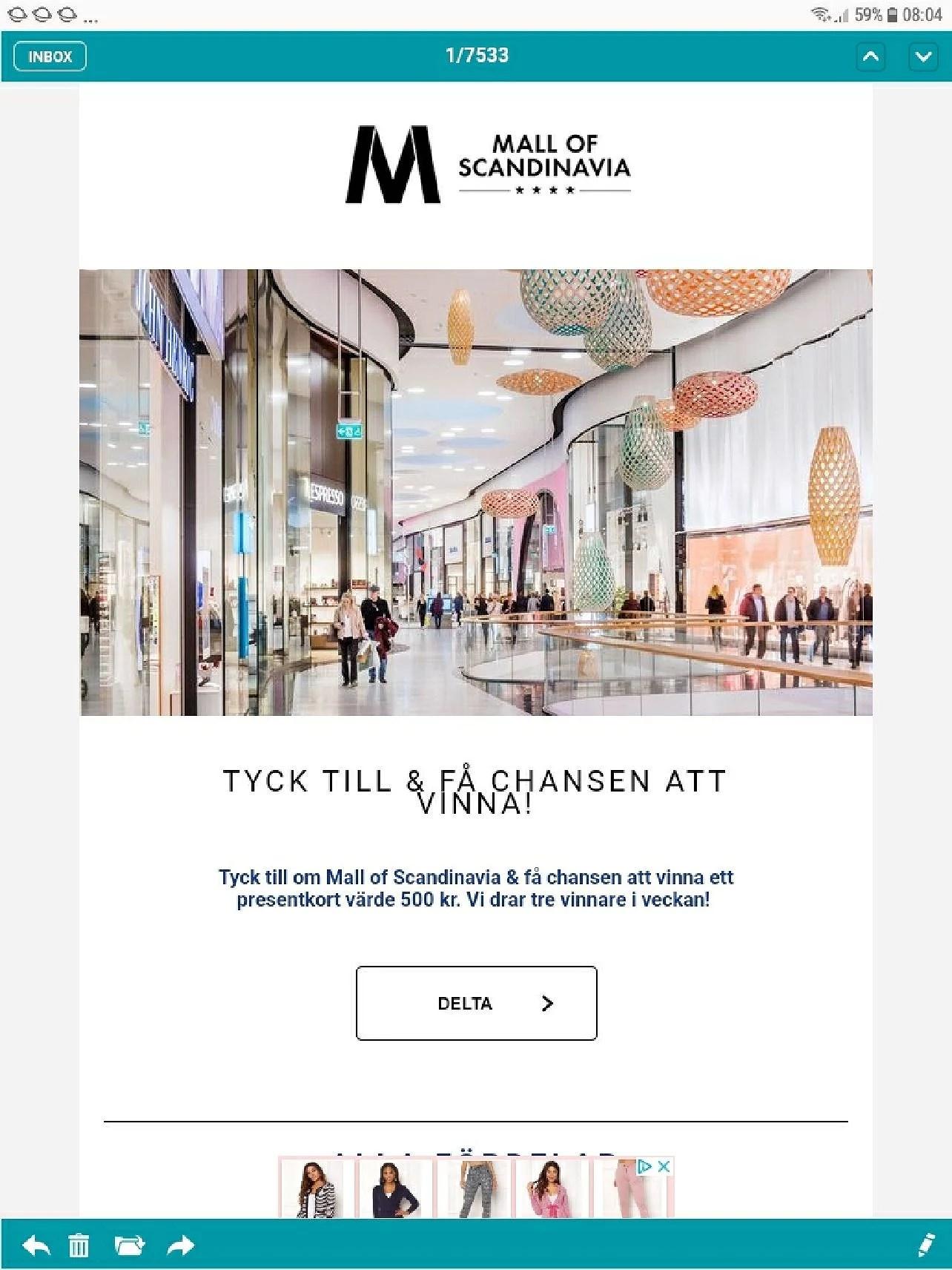 Mall of Scandinavia tyck till och få chansen att vinna ett presentkort värde 500kr