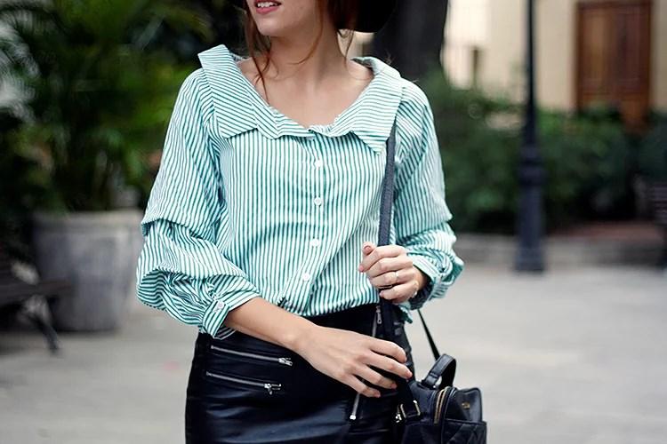 Camisa verde de rayas