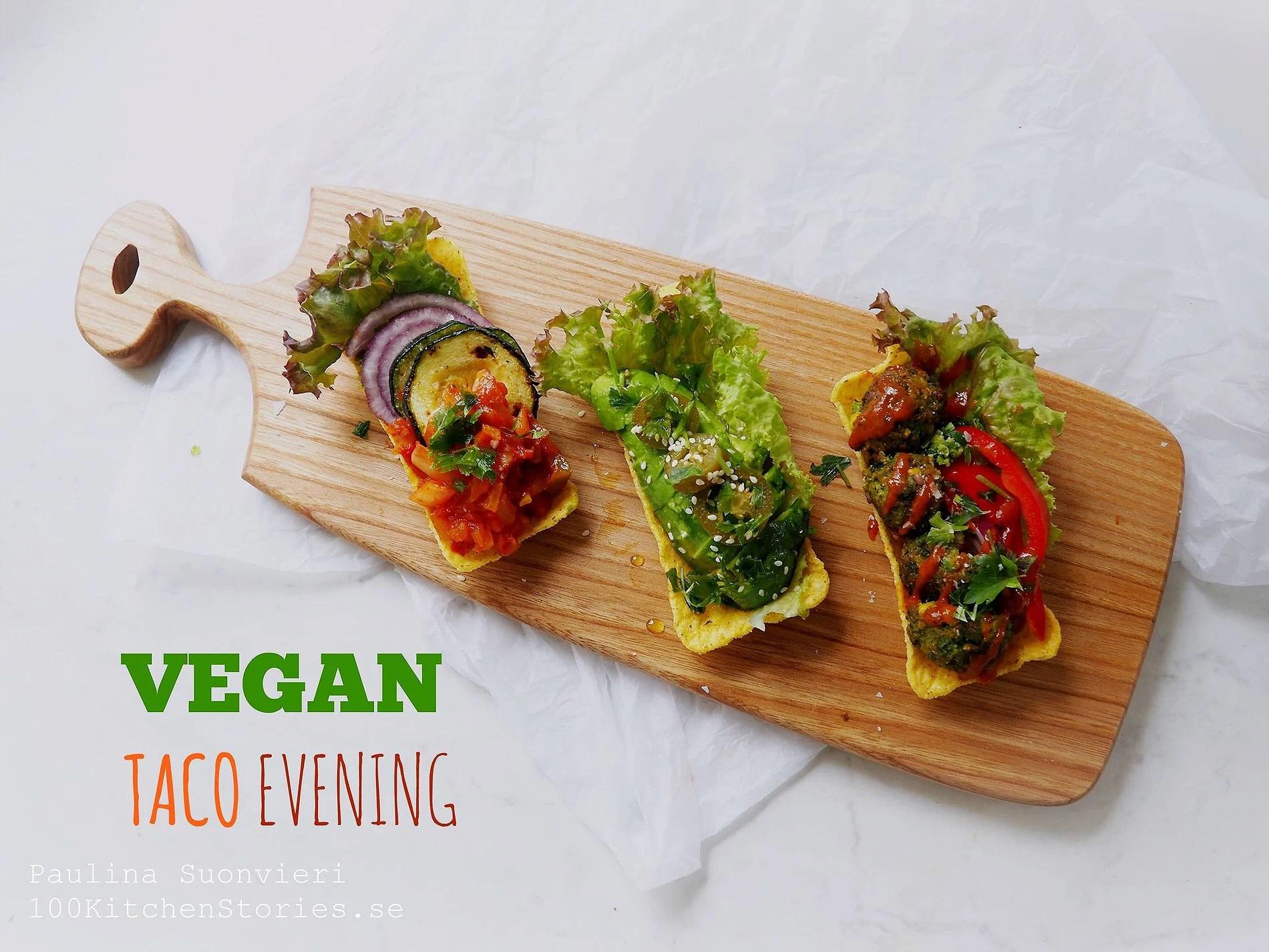 Vegan Taco Night - Falafel, Grilled Zucchini & Avocado in Mini Taco Tubes