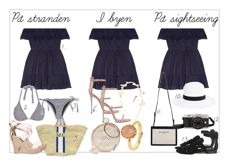 Outfit // Én kjole, tre looks til ferien