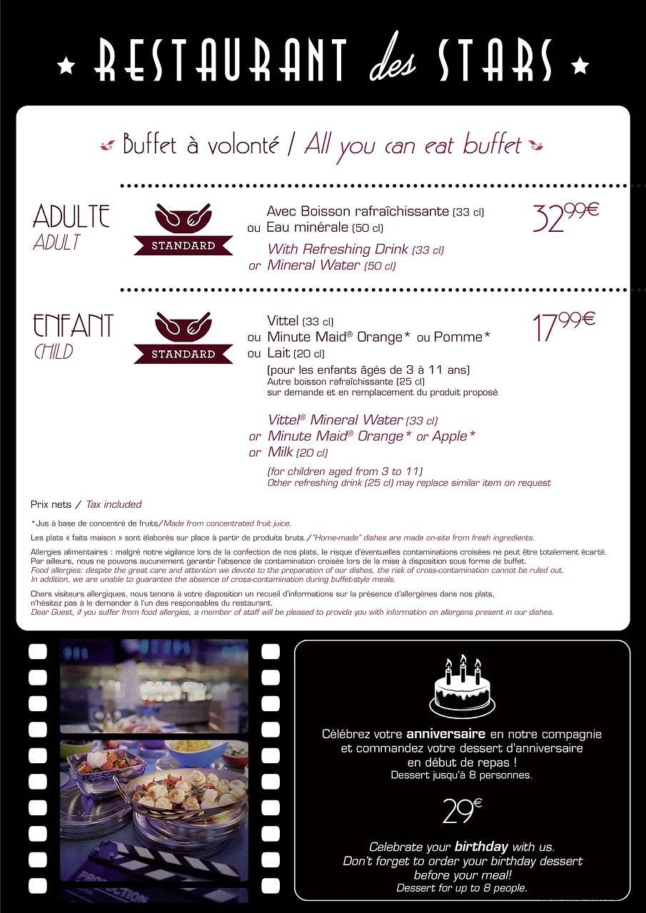 Menyer på Disneyland Paris: Restaurants des Stars