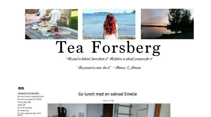 Tea Forsbergs bloggdesign