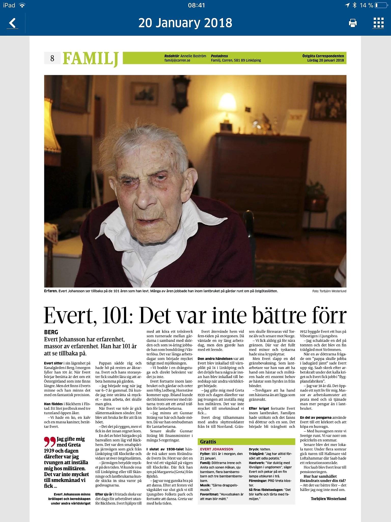 Correns reportage om svärfar Evert och hans 101 - åriga liv