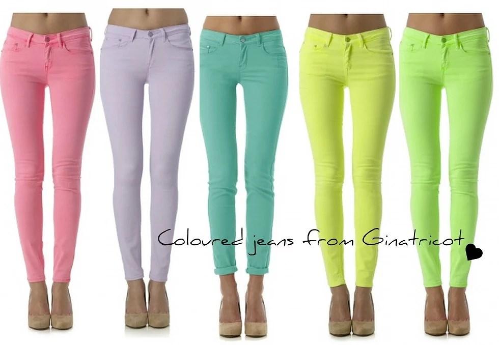 Jeans i färger.