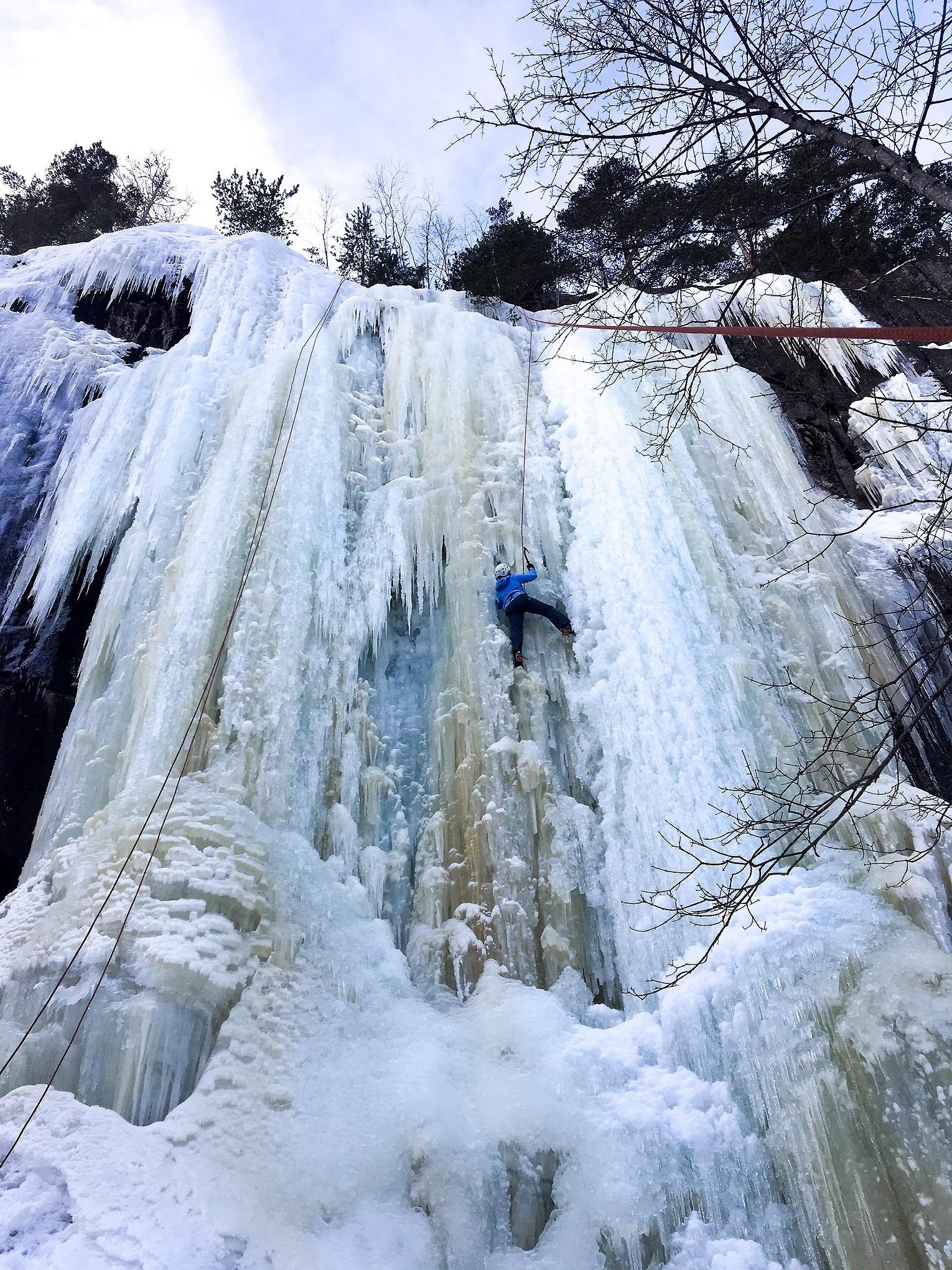 CLIMBING ON ICE.