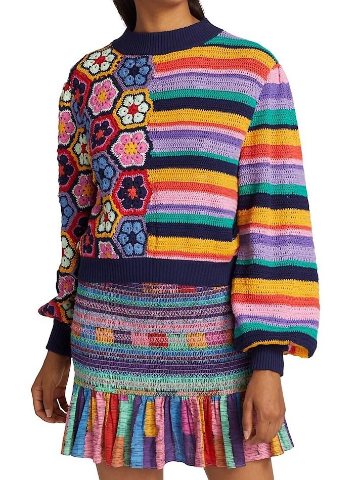 Flower Stripe Crochet Sweater