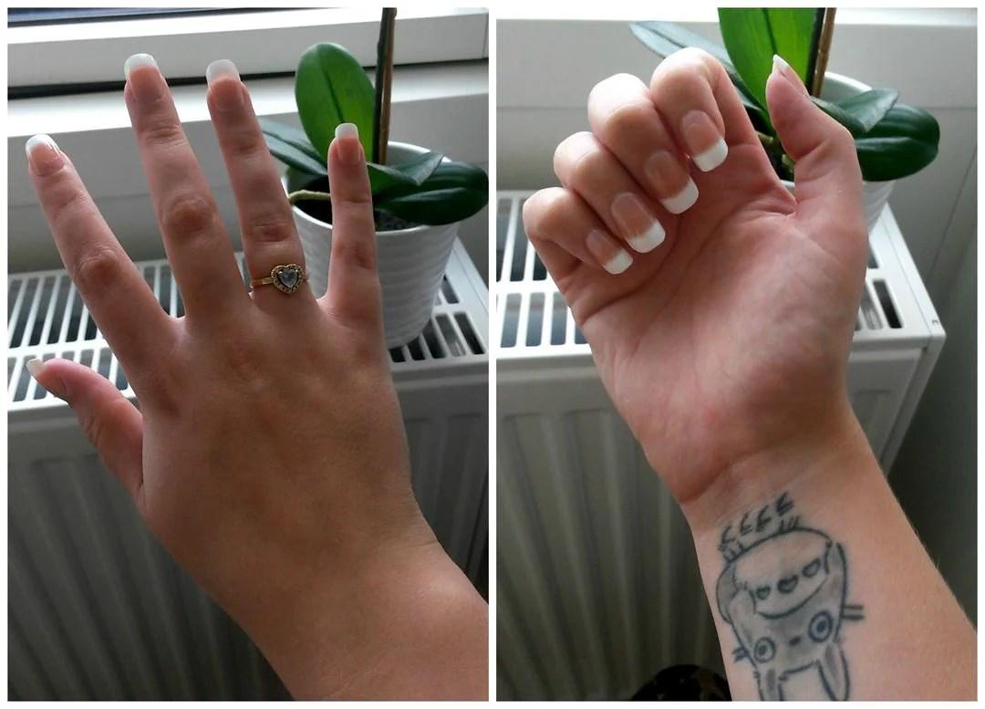 Førte step: Påsætning af de kunstige negle og fil dem til.