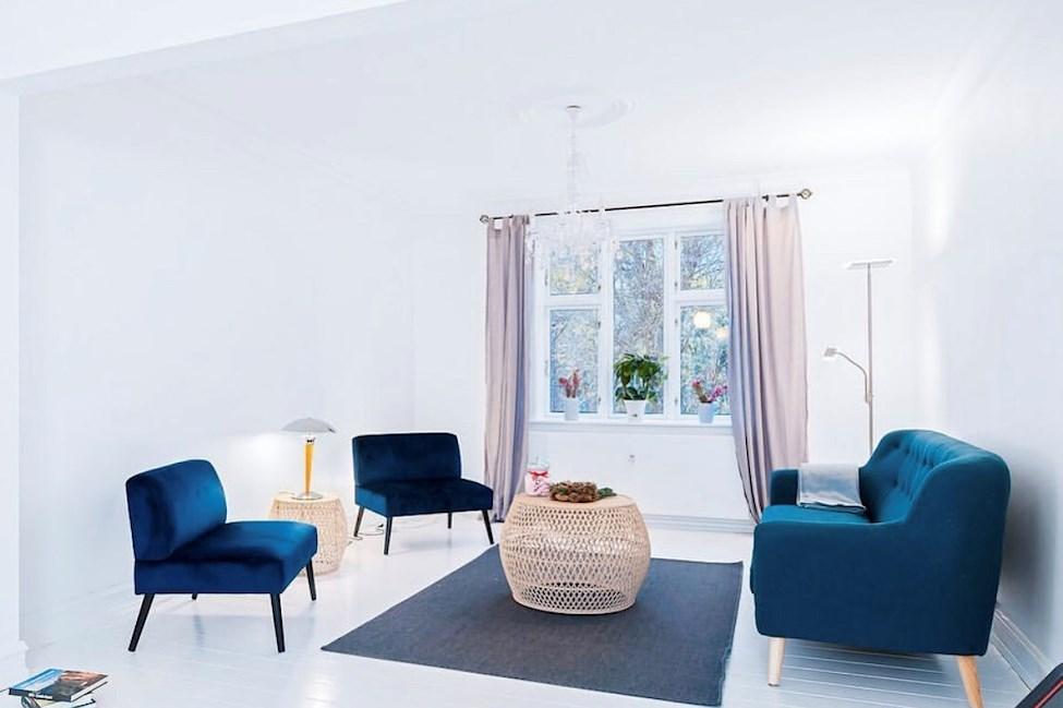 lejlighed, stole, sofa, gardiner, indretning