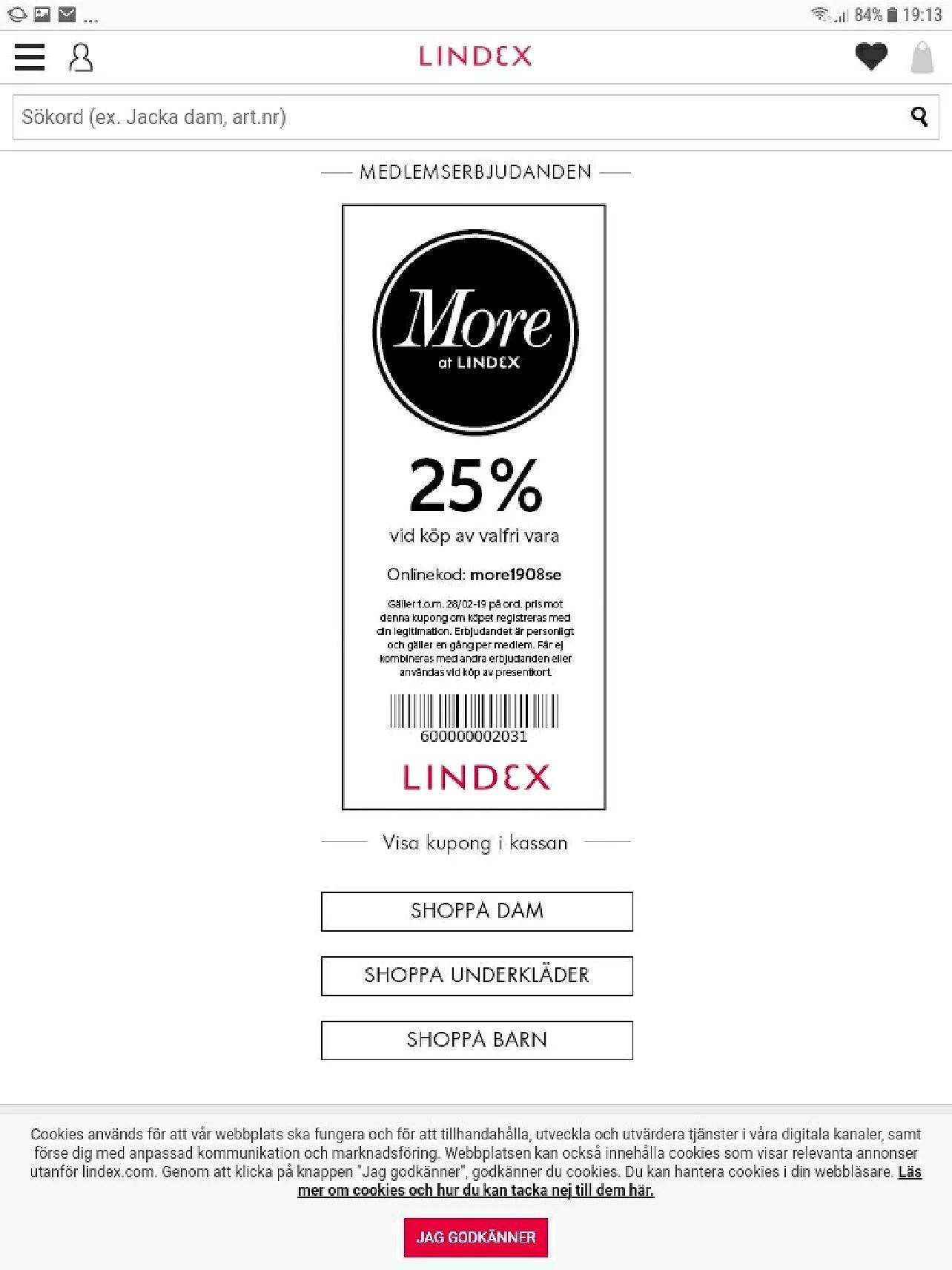 Lindex 25% rabatt på en valfri vara
