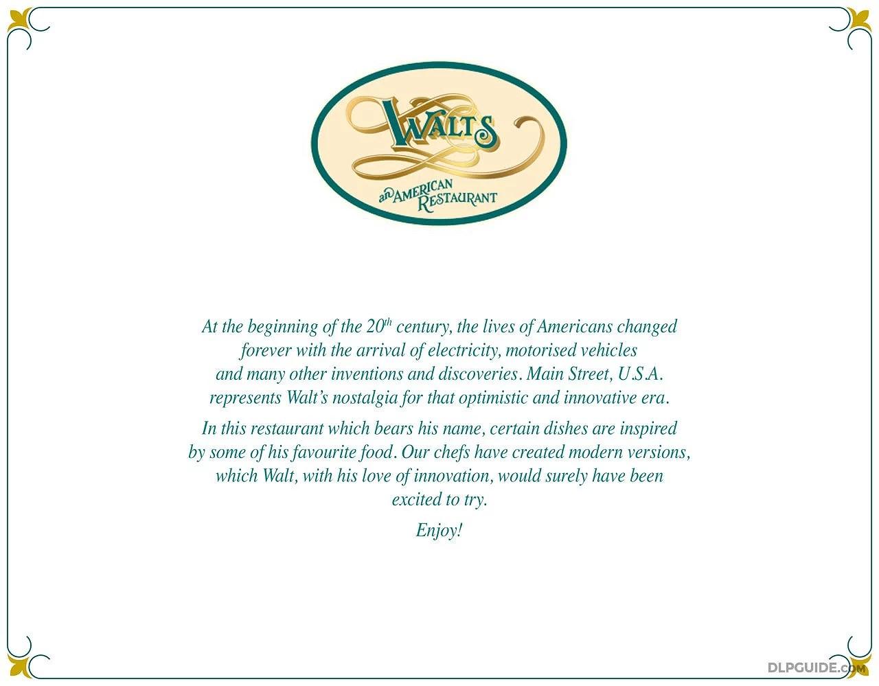 Menyer på Disneyland Paris: Walt's An American Restaurant