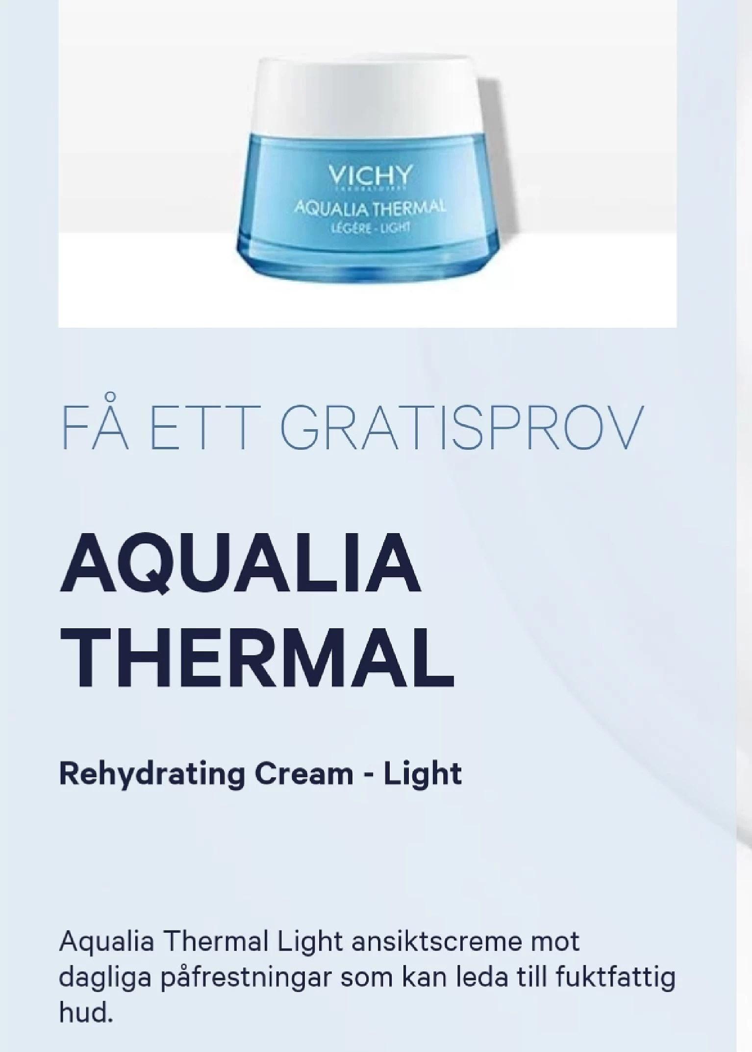 Beställ gratis prov på Vichy thermalia...