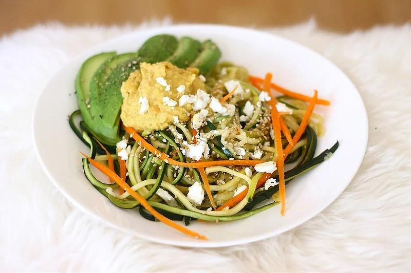 Zucchini noodles & homemade hummus