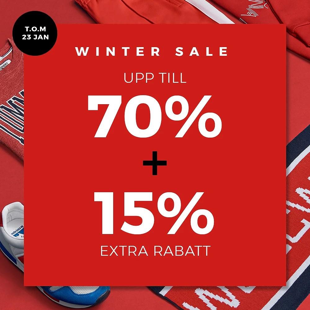 Upp till 70% + 15% EXTRA RABATT PÅ REAN!
