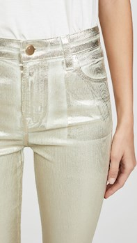 Maria High Rise Skinny Corduroys METALLIC