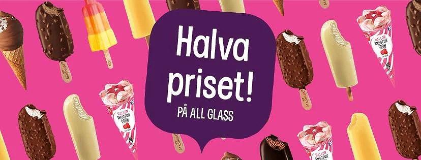 Halva priset på glass