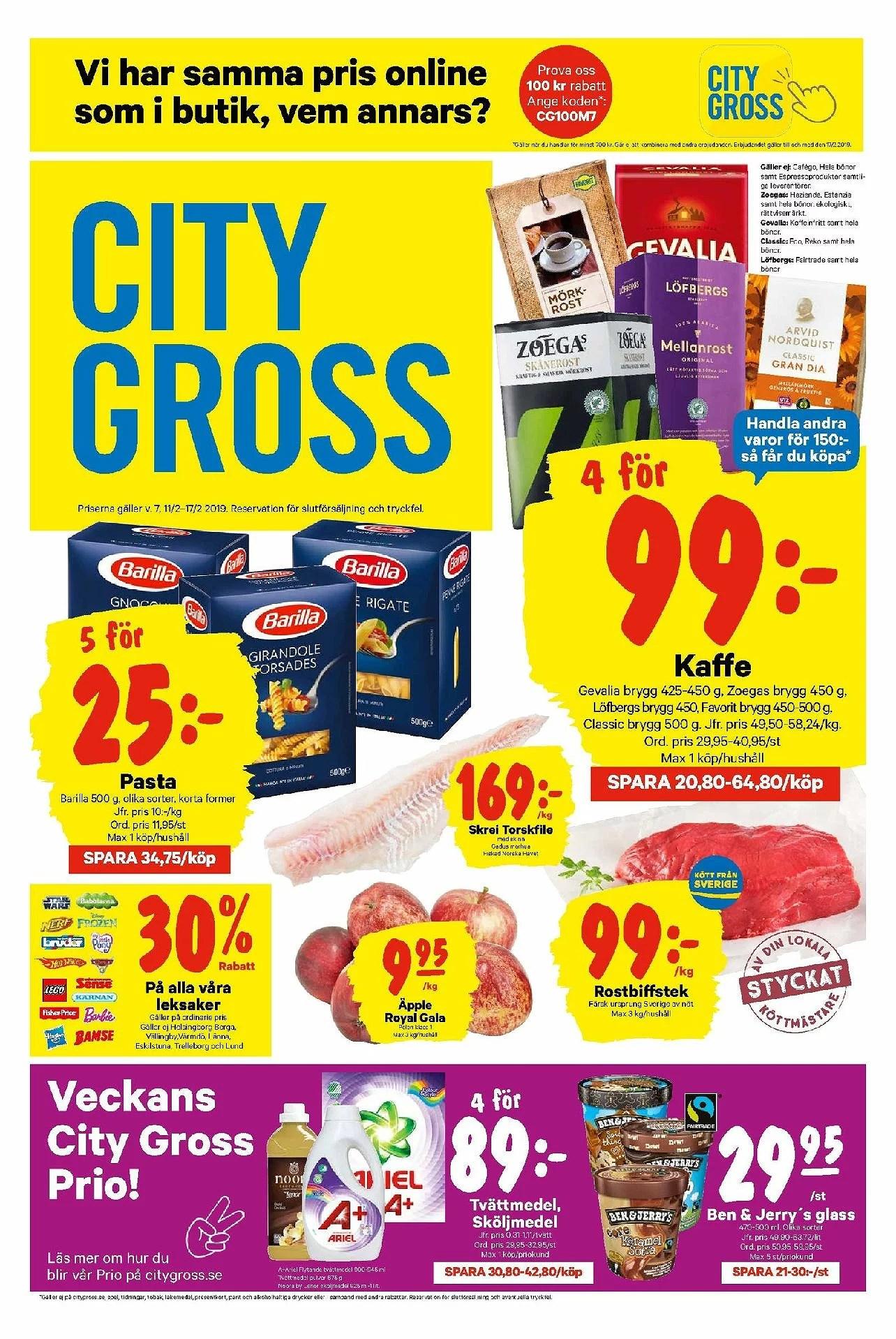 City Gross, äpple royal Gala 9,95kr kg, 30% rabatt på alla leksaker och annat