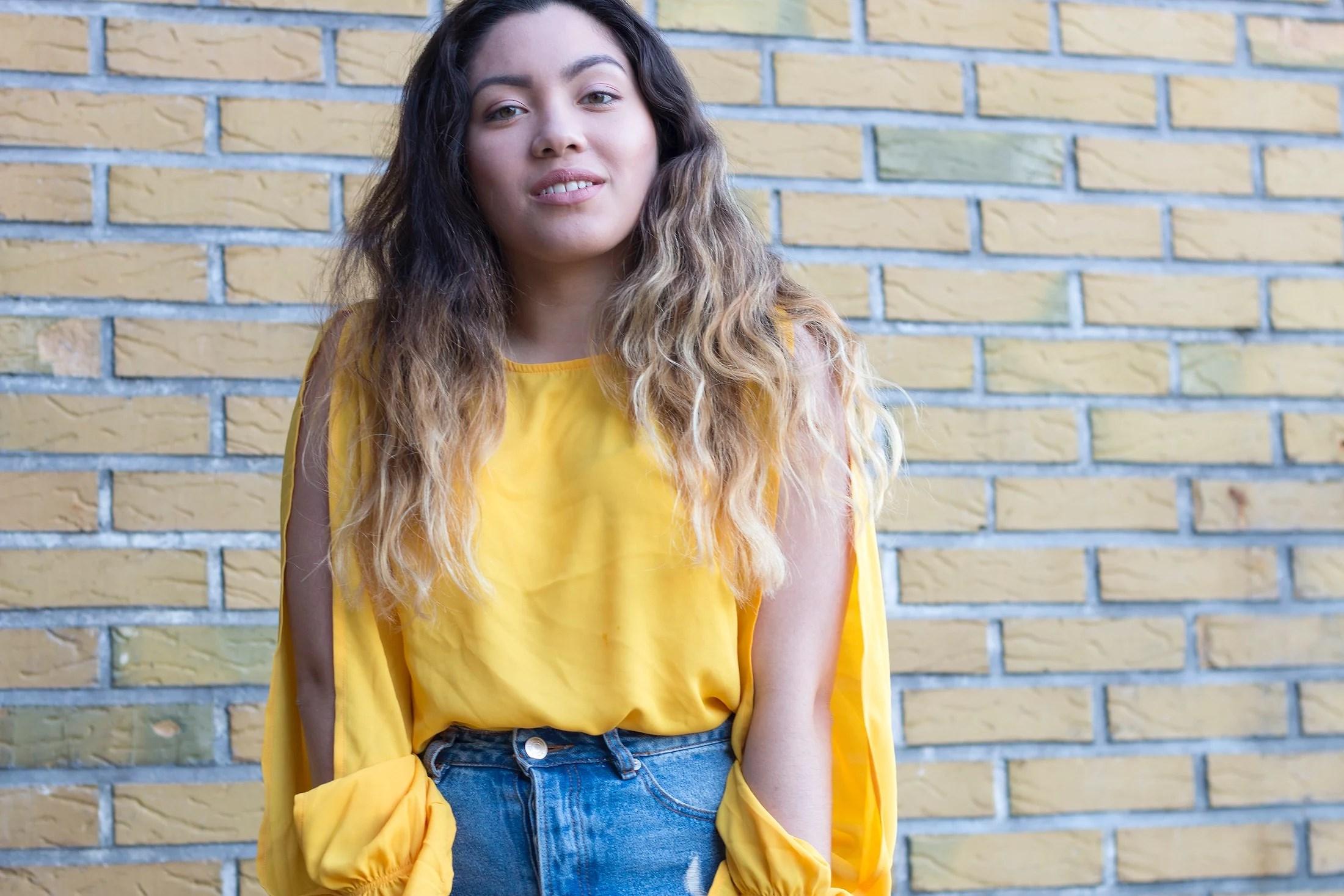 Yellow brick & Denim skirt